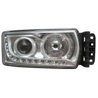 Hauptscheinwerfer H7 mit LED Tagfahrlicht ohne Leuchtmittel rechts / Headlight H7 with LED daytime running light no light bulb RH